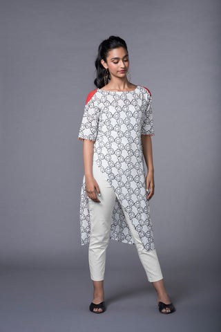 BLACK AND WHITE CORNFLOWER ASSYMETRICAL KURTA