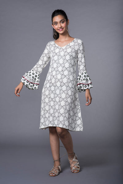 CORNFLOWER FLARED SLEEVE BRUNCH DRESS