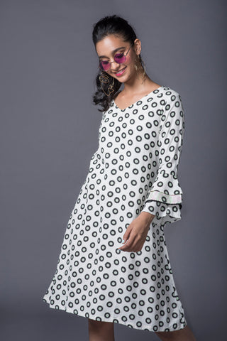 GREEN POLKA FLARED SLEEVE BRUNCH DRESS