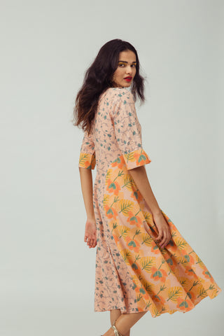 SALMON STARFLOWER KURTA DRESS