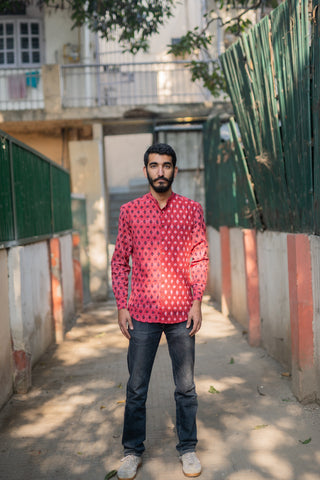 Chilli Red Lattice Print Shirt