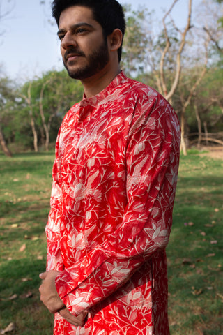 Silk red swan kurta