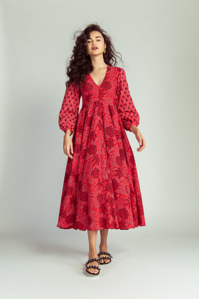CHILLI RED FLORAL MAXI GOWN