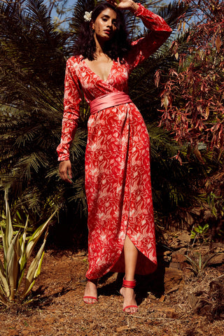 Silk red swan wrap dress