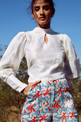 RAW SILK BLOUSE