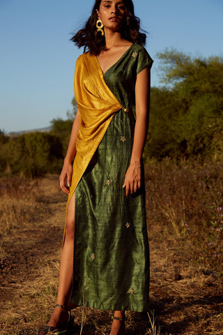 Tussar Silk Dual draped wrap dress