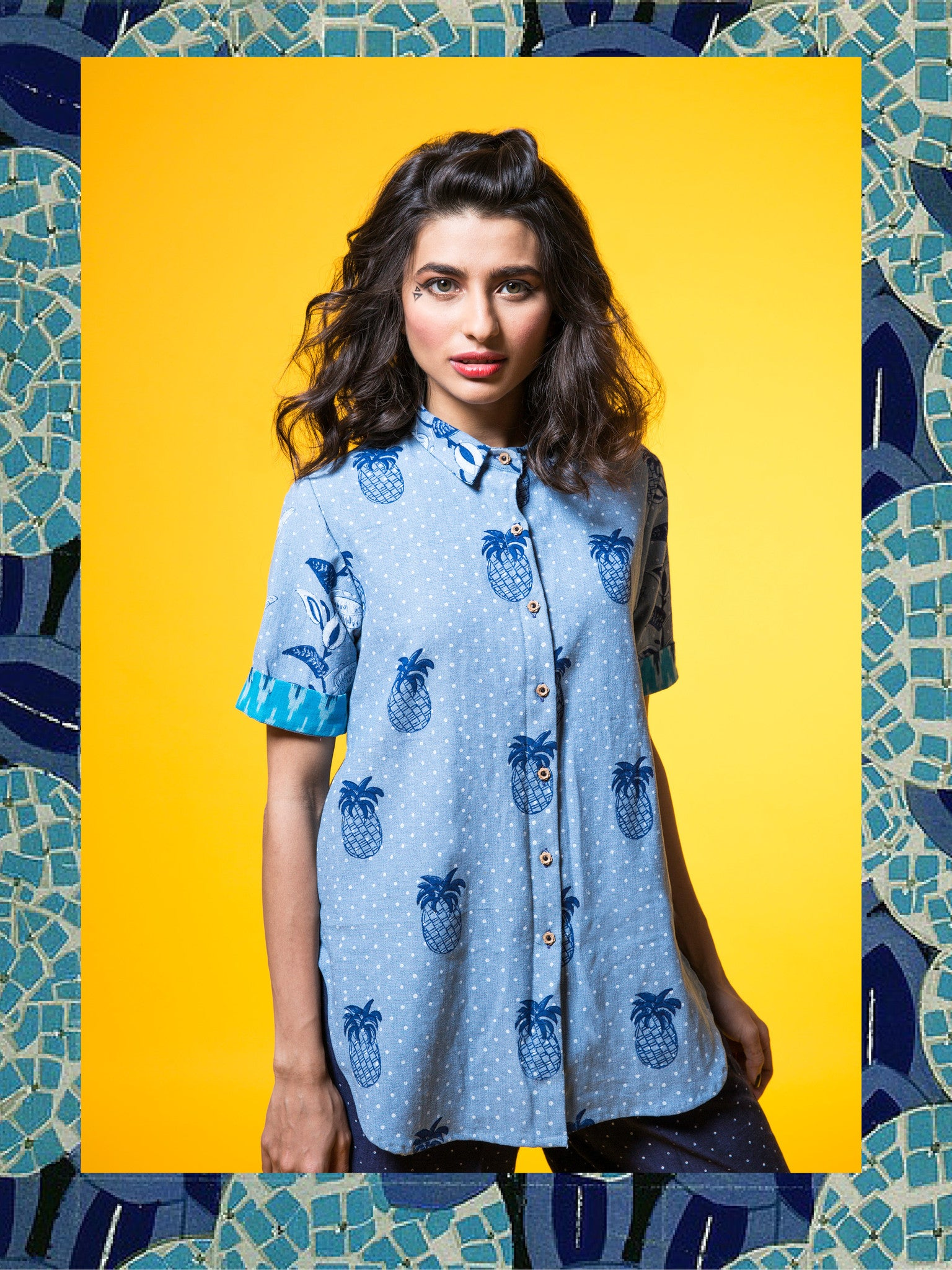Denim High-Low Pineapple Shirt with Blue Ikat