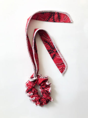 Chilli red floral tie up scrunchie