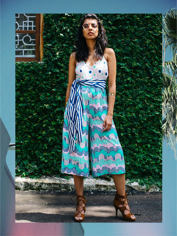 Wave and Fauna Print Jumpsuit with Sash