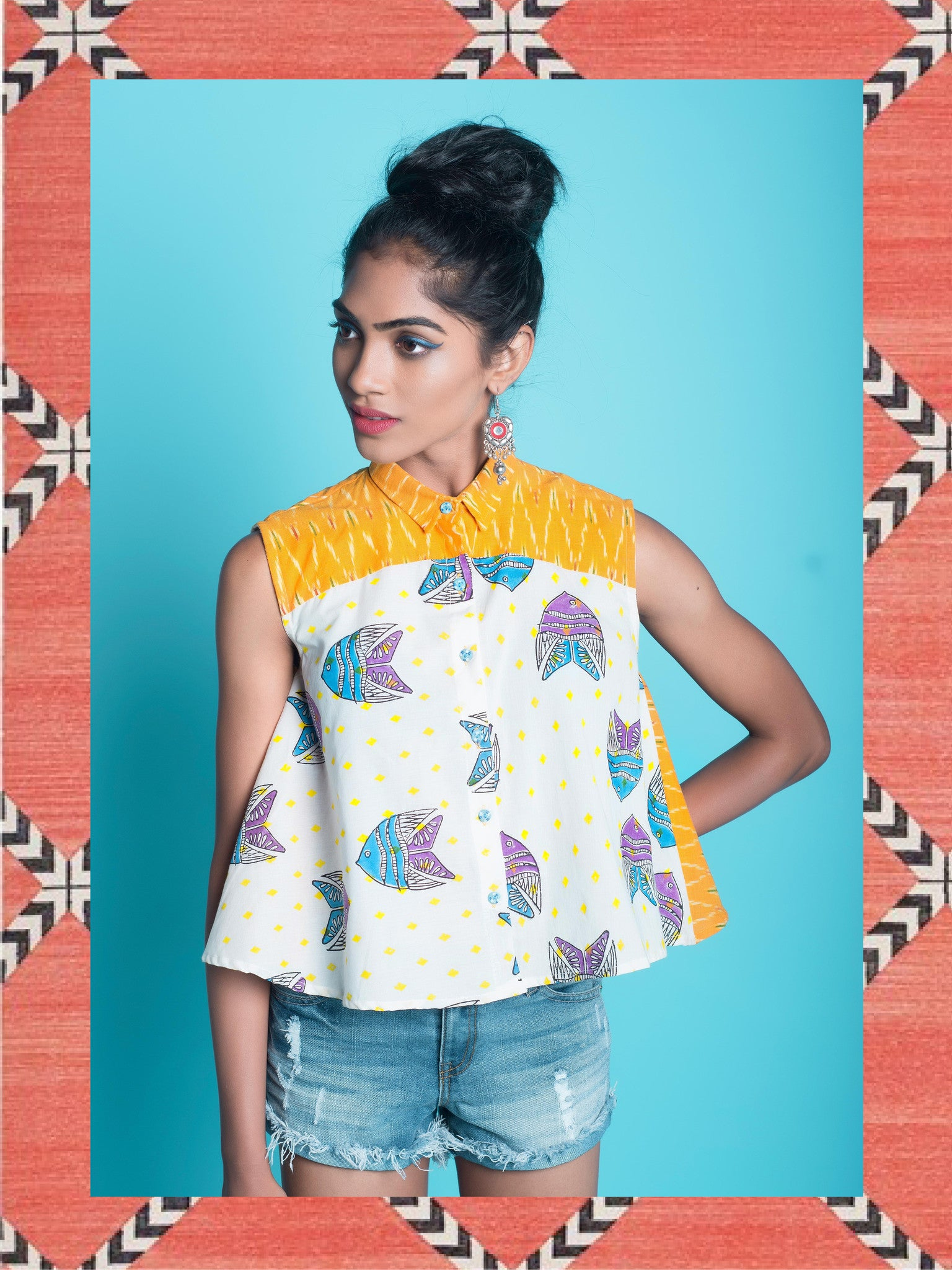 MULTI COLOUR FISH SWING SHIRT WITH IKAT