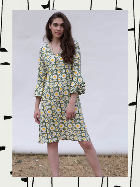 Olive Flared Sleeve Brunch Dress