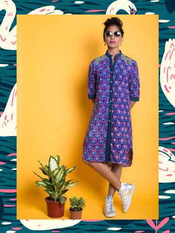 PEACOCK PRINT KURTA DRESS