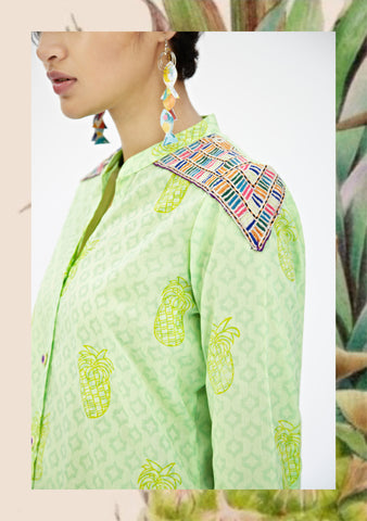 Lime Green Pineapple Maxi Kurta