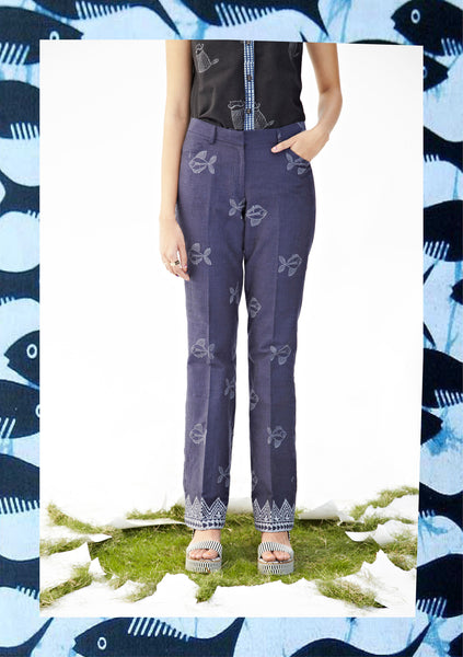 Indigo Fish Flared Trousers