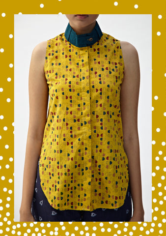 Mustard Geometric High-Low Shirt