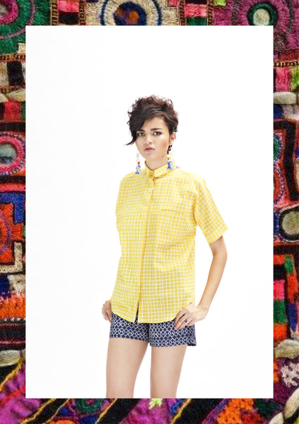 Sunglow Yellow Oversized Check Shirt with Patch
