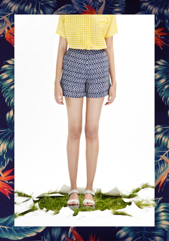 Indigo Geometric Shorts
