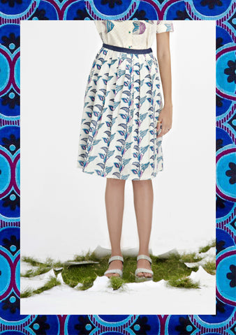 Tropical Floral Pleated Skirt