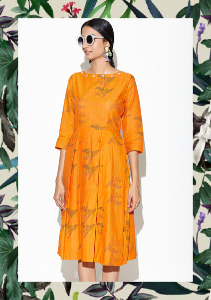 Pumpkin Orange Floral Pleated Dress