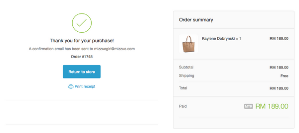 mizzue Malaysia handbag order confirmation page screen capture