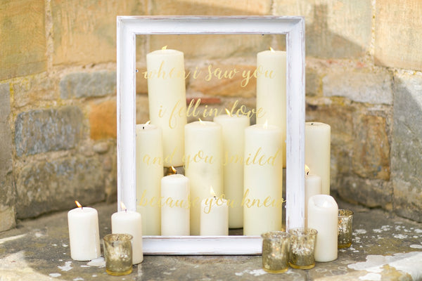Candles and frame