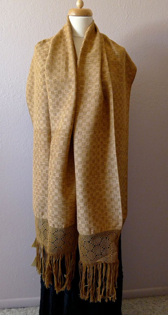Oaxacan handwoven natural dyed cotton Rebozo/shawl - Taupe