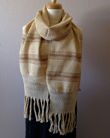 Oaxacan Handwoven natural dyed cotton neck scarf - Oatmeal stripe