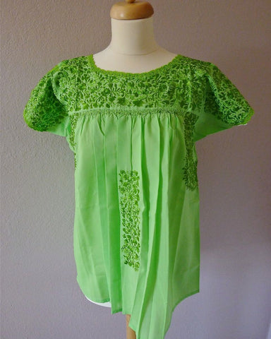 Embroidered Mexican Wedding dress blouse - Lime Green - SML/MED