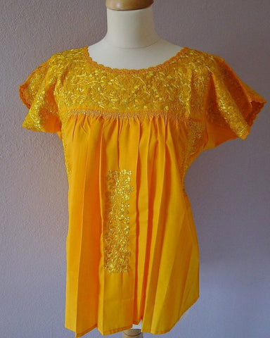 Embroidered Mexican Wedding Dress Blouse - Bright Yellow - SML/MED