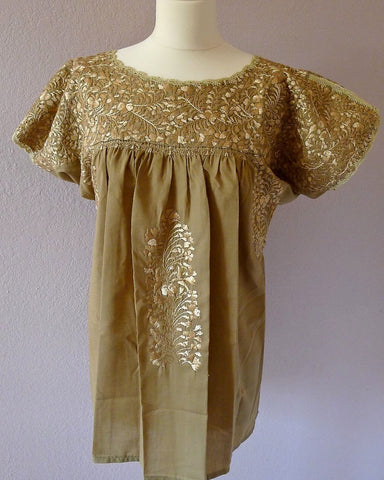 Embroidered Mexican Wedding Dress Blouse - beige/beige sml/med