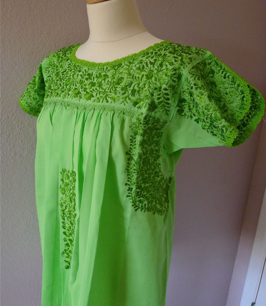 Embroidered Mexican Wedding dress blouse - Lime Green - SML/MED ...