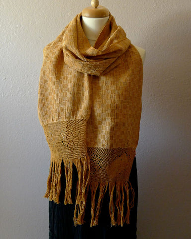 Oaxacan Handwoven natural dyed cotton neck scarf - butterscotch