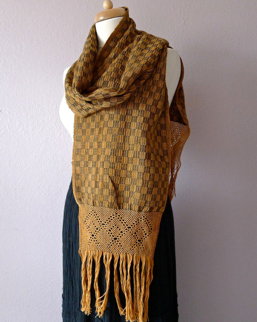 Oaxacan Handwoven natural dyed cotton neck scarf - dark basket butterscotch