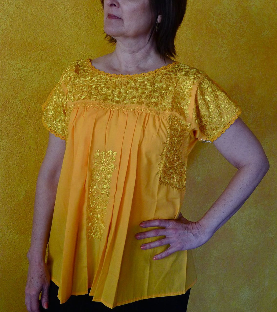 Embroidered Mexican Wedding Dress Blouse - Bright Yellow - SML/MED ...