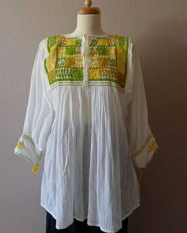 Chiapas embroidered gauze smock blouse - yellow green on white - med/lrg
