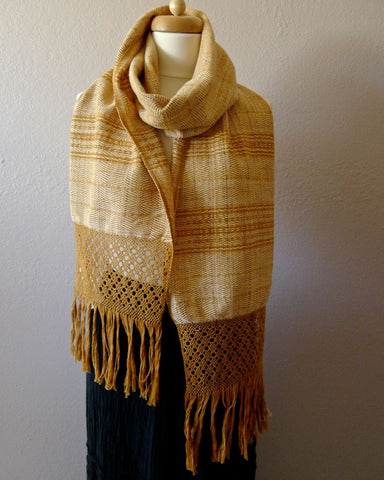 Oaxacan Handwoven natural dyed cotton neck scarf - butterscotch stripe