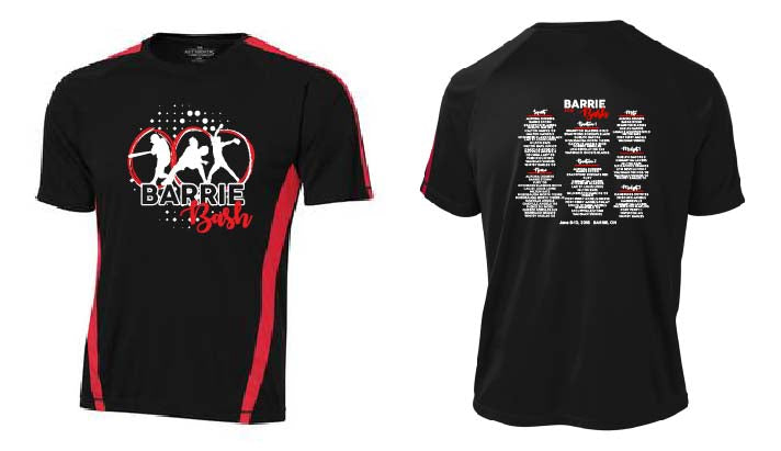 BARRIE BASH SOFTBALL EVENT TEE BLACK RED DRI-FIT SHORT SLEEVE