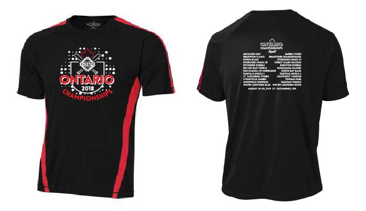 OSSTA PROVINCIALS SOFTBALL EVENT TEE BLACK RED DRI-FIT SHORT SLEEVE