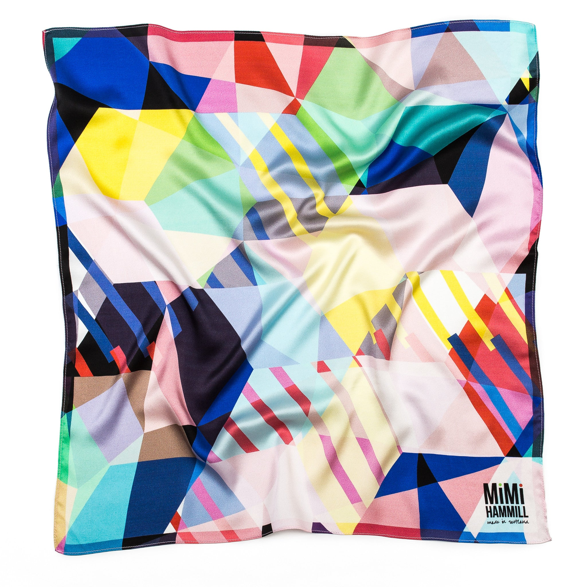 Silk scarf designed by Mimi Hammill. Colourful, geometric print. ARTPOP in the Not The Kind gift shop.