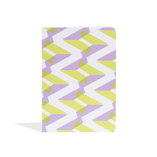 A5 Naomi Notebook designed by Laura Spring. Not The Kind gift shop. FRONT cover in green + purple.