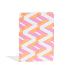 A5 Naomi Notebook designed by Laura Spring. Not The Kind gift shop. FRONT cover in pink + orange.