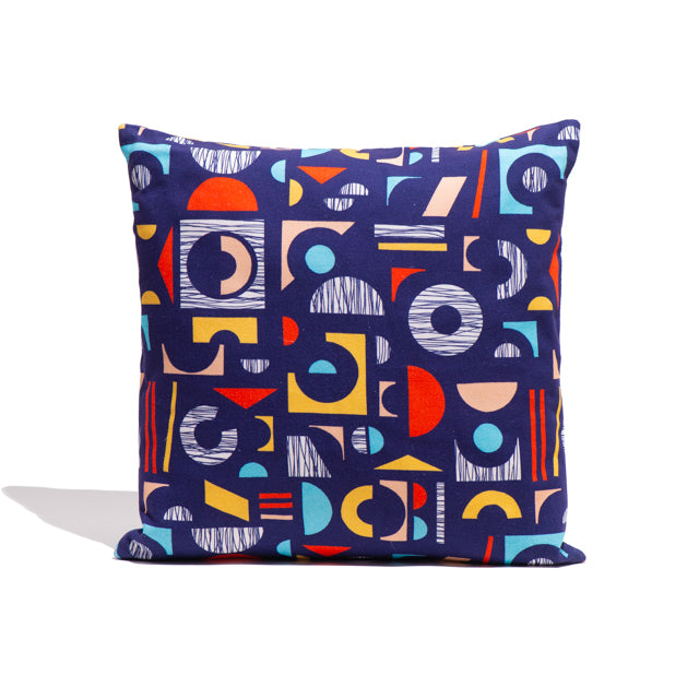 Navy Collage Cushion