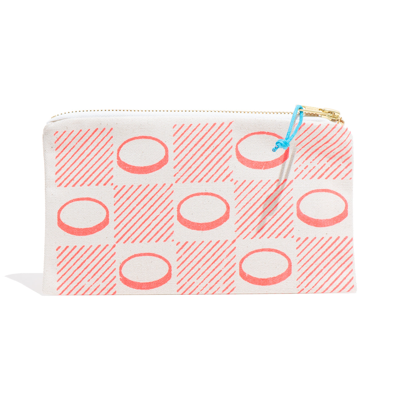 Neon Orange Checkerboard Zip Pouch