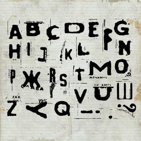 Distressed Alphabet Unmounted Rubber Stamp Sheet