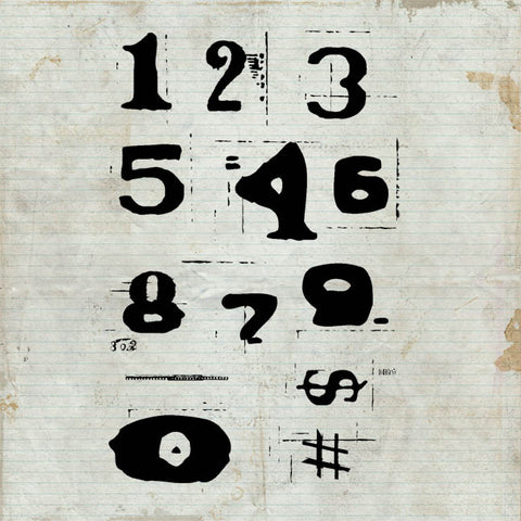 Distressed Numbers Unmounted Rubber Stamp Sheet