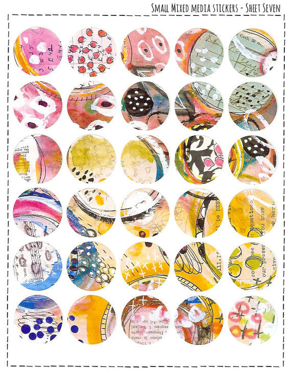 Small Mixed Media Stickers - #7