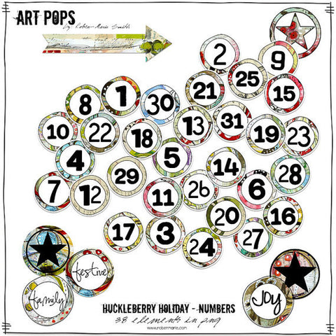 Art Pops™ Huckleberry Holiday™ Collection Numbers - Digital Elements