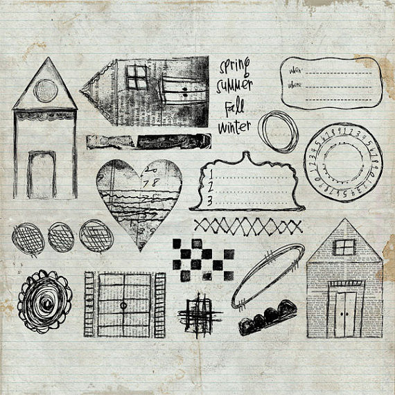Doodles & Daters Unmounted Rubber Stamp Sheet