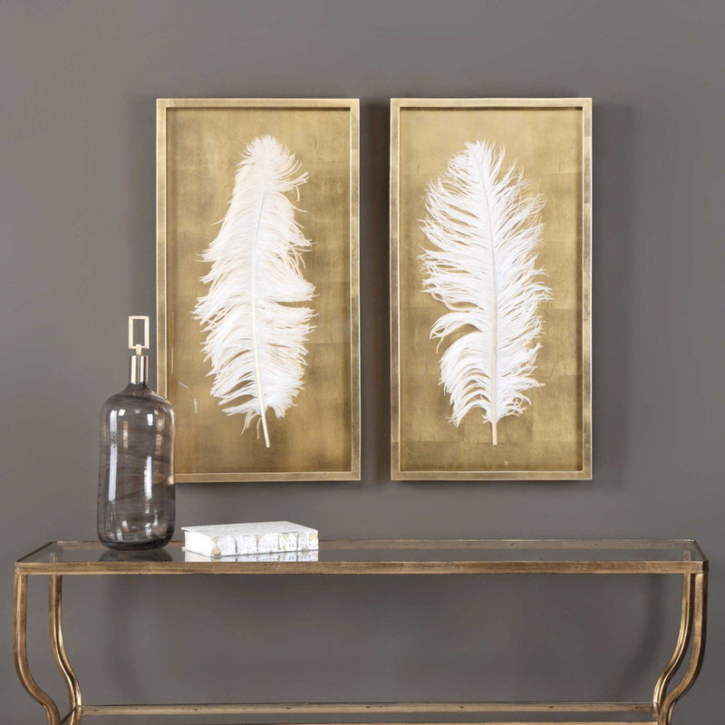 White Feathers Shadow Box, S/2 - Al Rugaib Furniture (4496799137888)