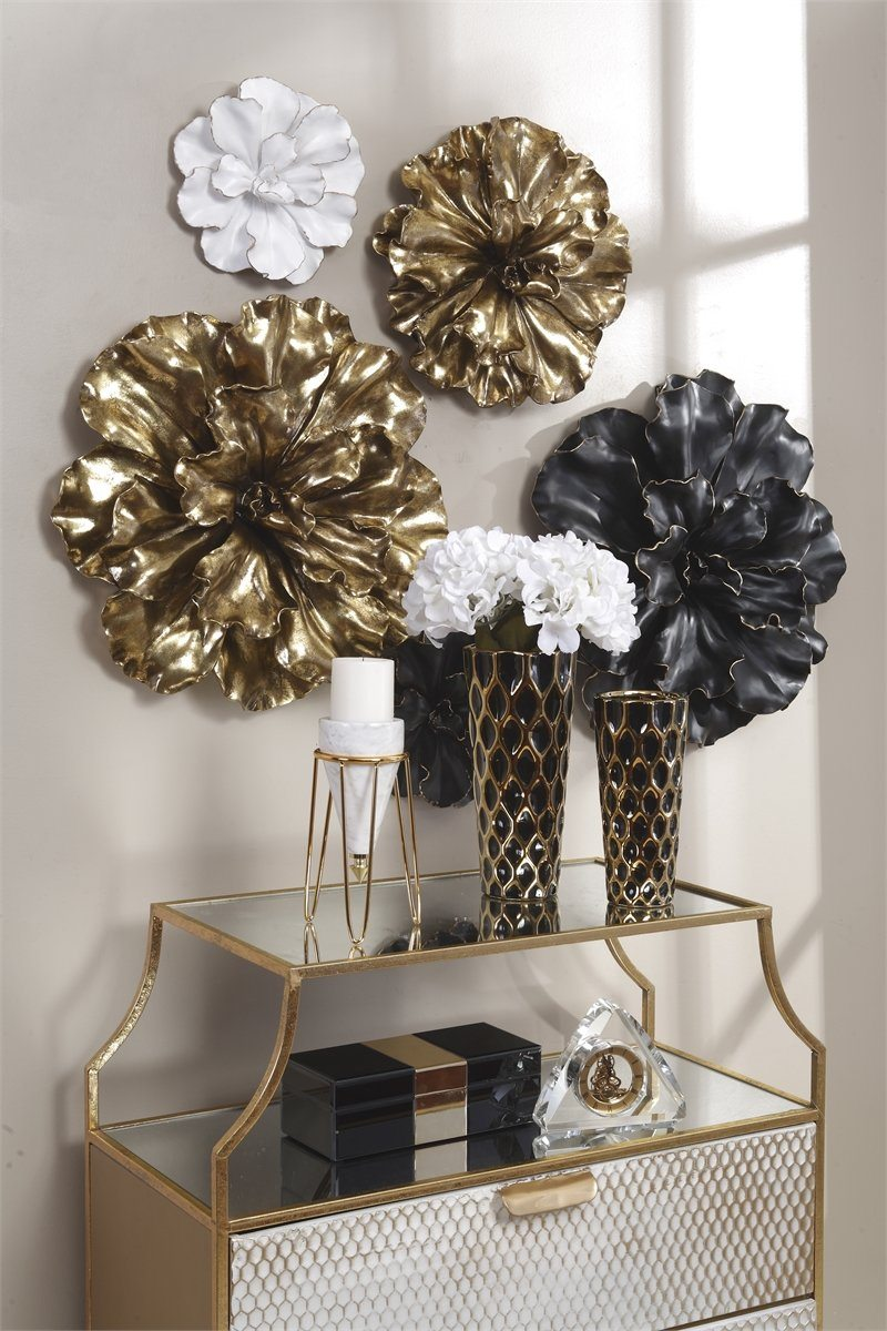 "WHITE/GOLD WALL FLOWER PLAQUE20"" - Al Rugaib Furniture (8820680018)"